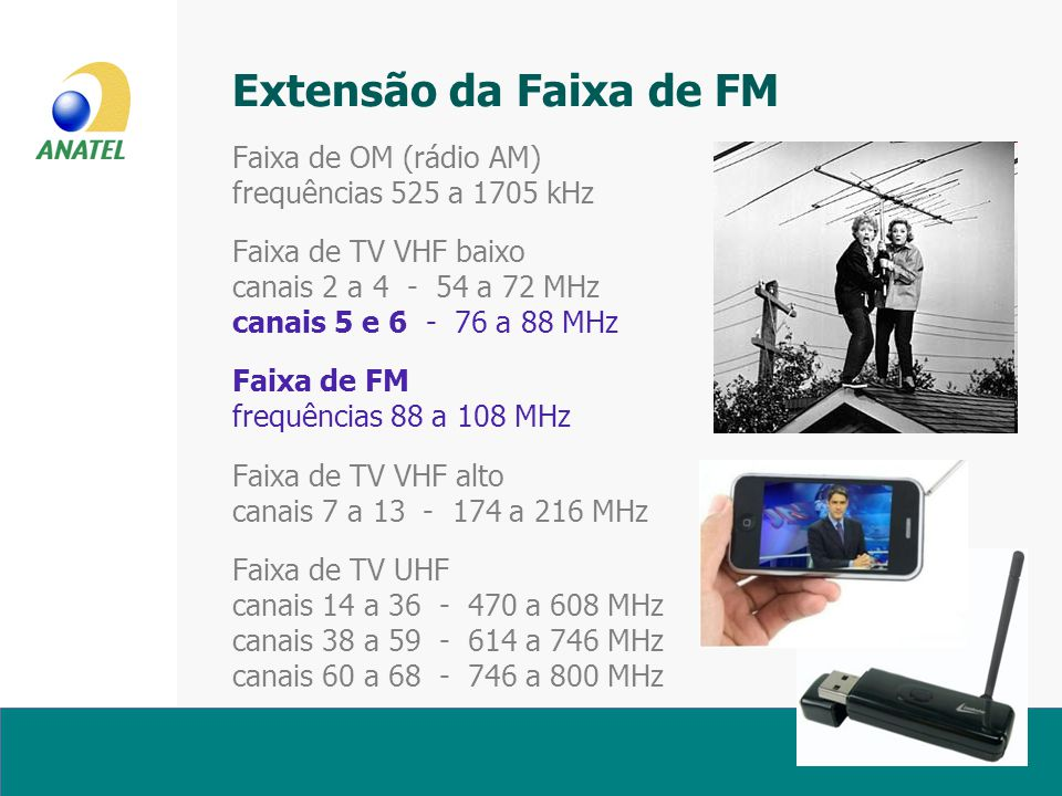Extensão da Faixa de FM Faixa de OM (rádio AM) frequências 525 a 1705 kHz Faixa de TV VHF baixo canais 2 a 4 - 54 a 72 MHz canais 5 e 6 - 76 a 88 MHz