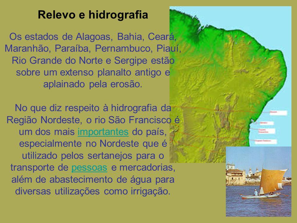Relevo e hidrografia Os estados de Alagoas, Bahia, Ceará, Maranhão, Paraíba, Pernambuco, Piauí, Rio Grande do Norte e Sergipe estão sobre um extenso p