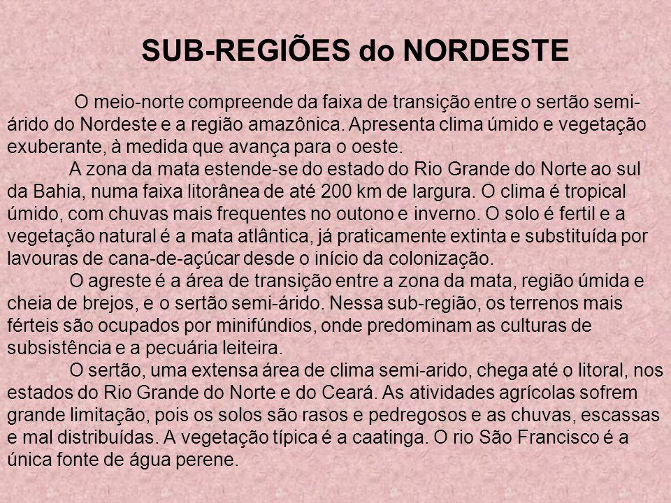 SUB-REGIÕES do NORDESTE O meio-norte compreende da faixa de transição entre o sertão semi- árido do Nordeste e a região amazônica. Apresenta clima úmi