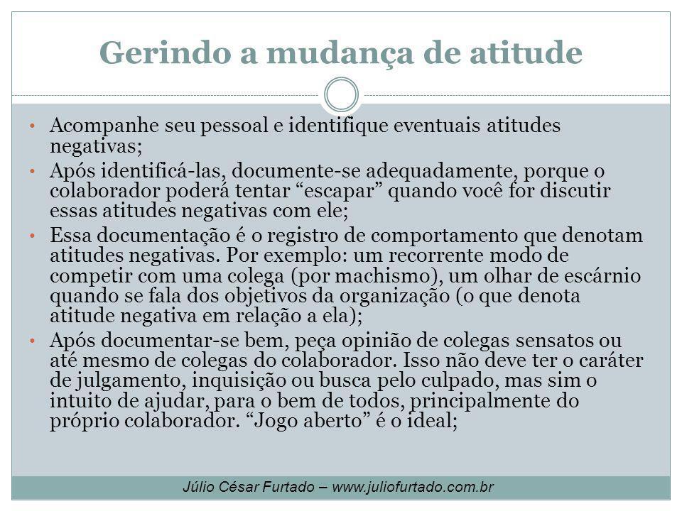 Gerindo a mudança de atitude Acompanhe seu pessoal e identifique eventuais atitudes negativas; Após identificá-las, documente-se adequadamente, porque
