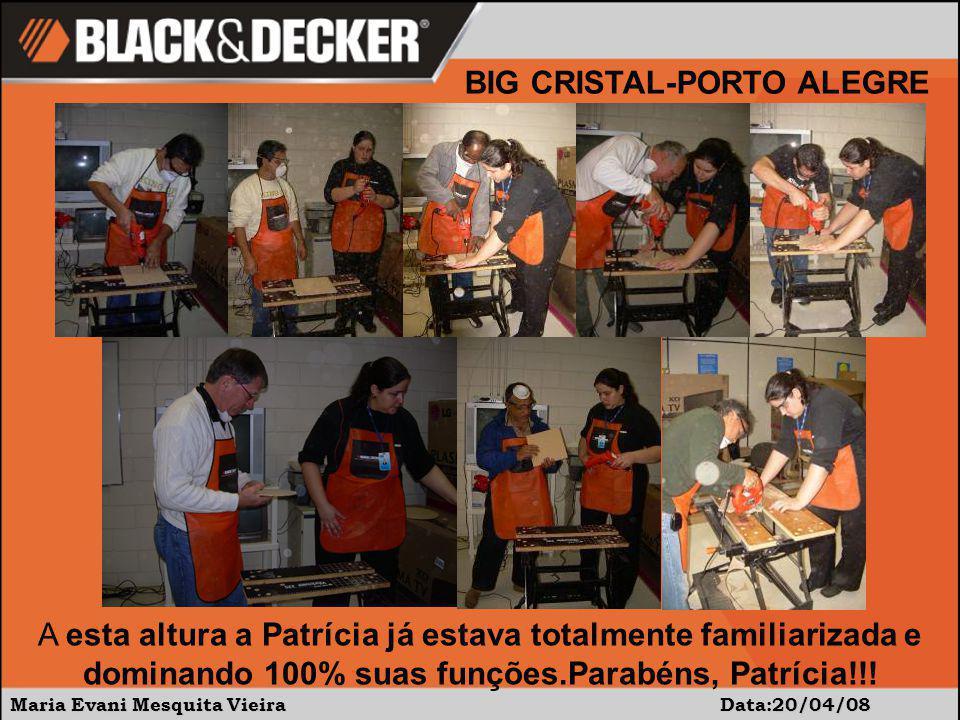 Maria Evani Mesquita Vieira Data:20/04/08 A esta altura a Patrícia já estava totalmente familiarizada e dominando 100% suas funções.Parabéns, Patrícia!!.
