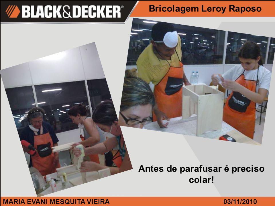 MARIA EVANI MESQUITA VIEIRA Antes de parafusar é preciso colar! Bricolagem Leroy Raposo 03/11/2010