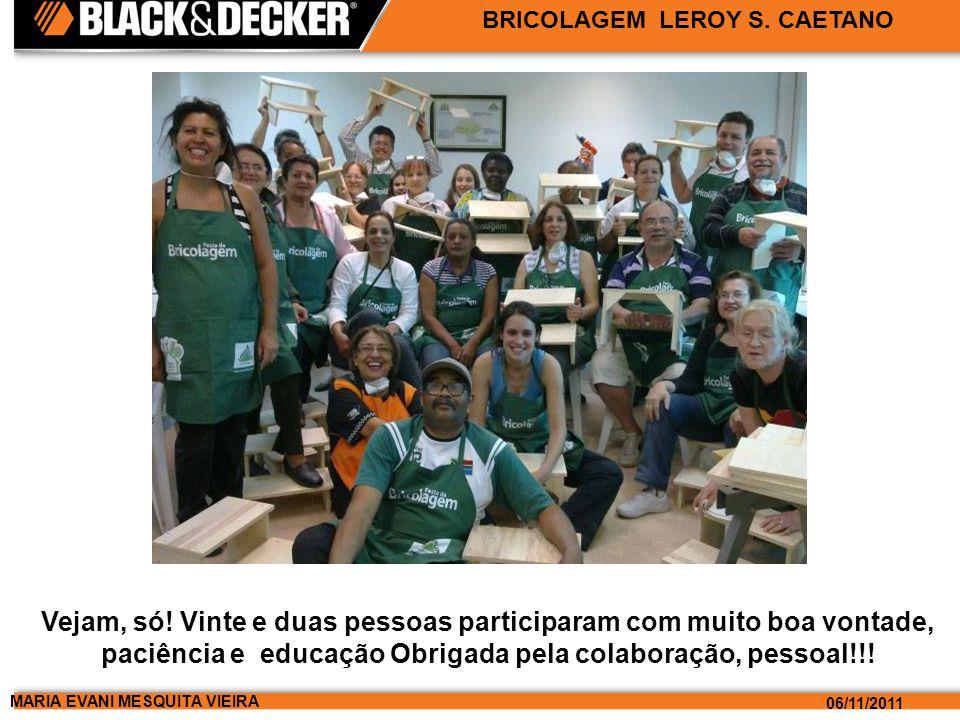 MARIA EVANI MESQUITA VIEIRA 06/11/2011 BRICOLAGEM LEROY S. CAETANO Vejam, só! Vinte e duas pessoas participaram com muito boa vontade, paciência e edu