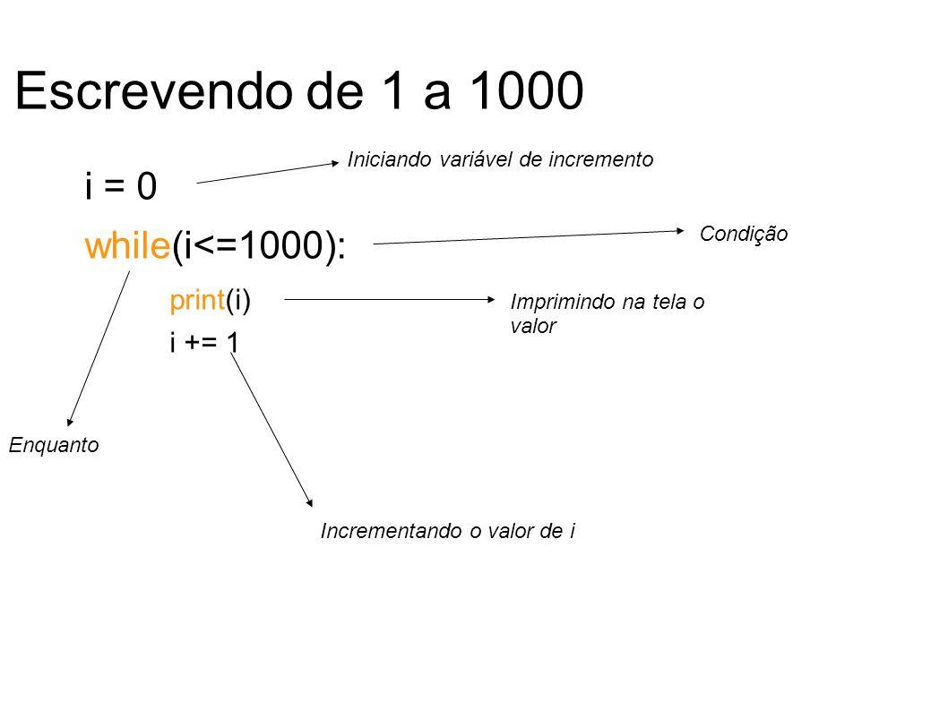 Escrevendo de 1 a 1000 i = 0 while(i<=1000): print(i) i += 1 Iniciando variável de incremento Condição Imprimindo na tela o valor Incrementando o valor de i Enquanto