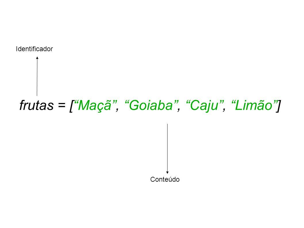 frutas = [Maçã, Goiaba, Caju, Limão] Identificador Conteúdo