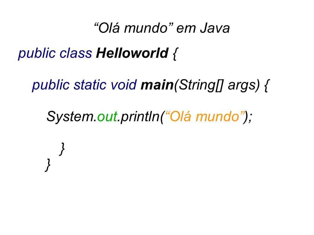 Olá mundo em Java | public class Helloworld { public static void main(String[] args) { System.out.println(Olá mundo); } }