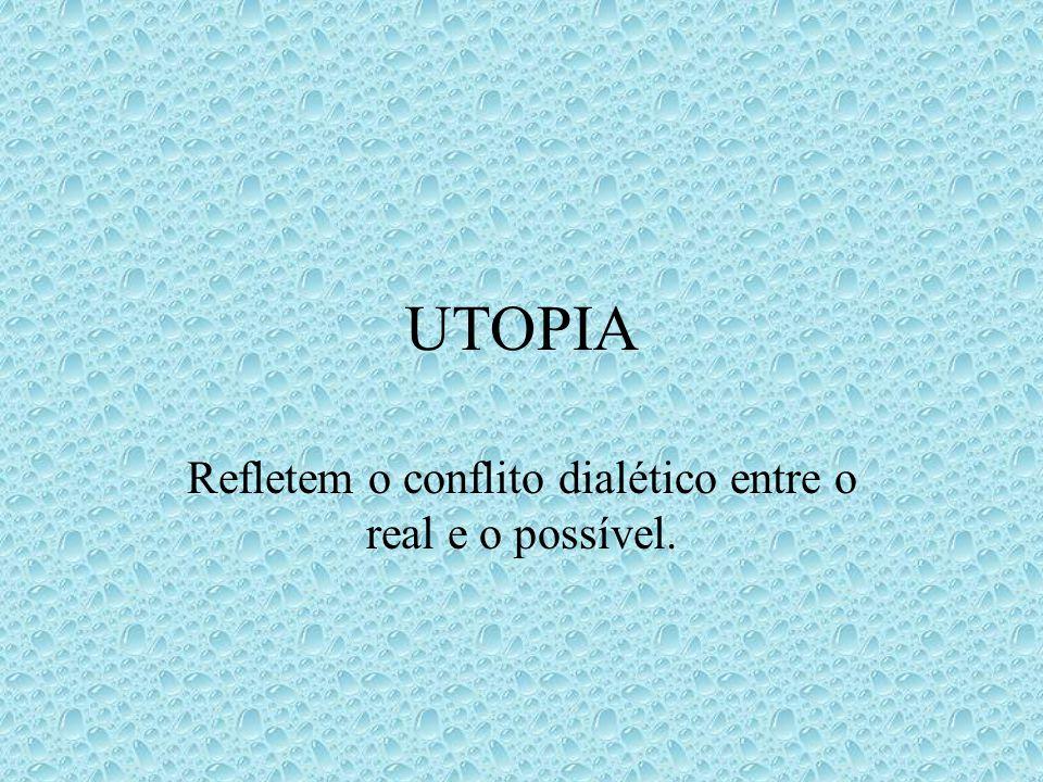 UTOPIA Refletem o conflito dialético entre o real e o possível.