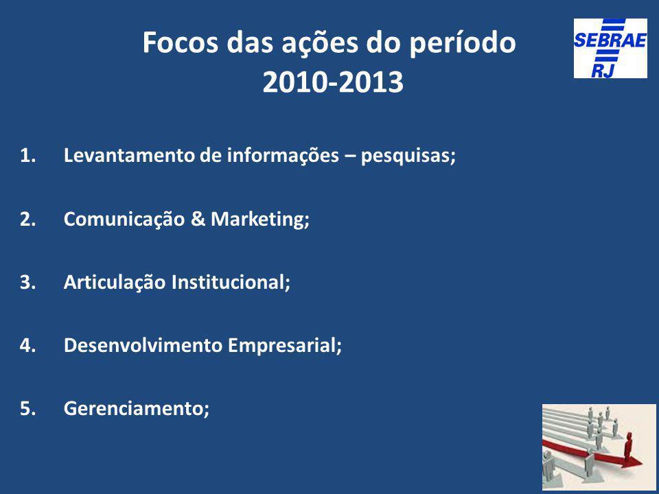 Focos das ações do período 2010-2013 1.Levantamento de informações – pesquisas; 2.Comunicação & Marketing; 3.Articulação Institucional; 4.Desenvolvime