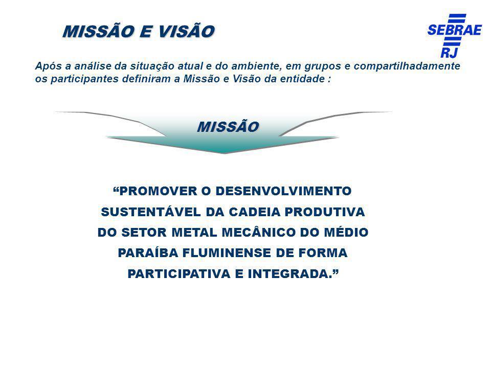 MISSÃO E VISÃO PROMOVER O DESENVOLVIMENTO SUSTENTÁVEL DA CADEIA PRODUTIVA DO SETOR METAL MECÂNICO DO MÉDIO PARAÍBA FLUMINENSE DE FORMA PARTICIPATIVA E