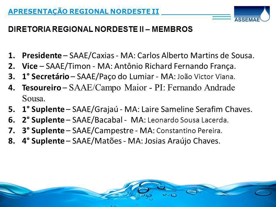 DIRETORIA REGIONAL NORDESTE II – MEMBROS APRESENTAÇÃO REGIONAL NORDESTE II_______________ ____ 1.Presidente – SAAE/Caxias - MA: Carlos Alberto Martins de Sousa.