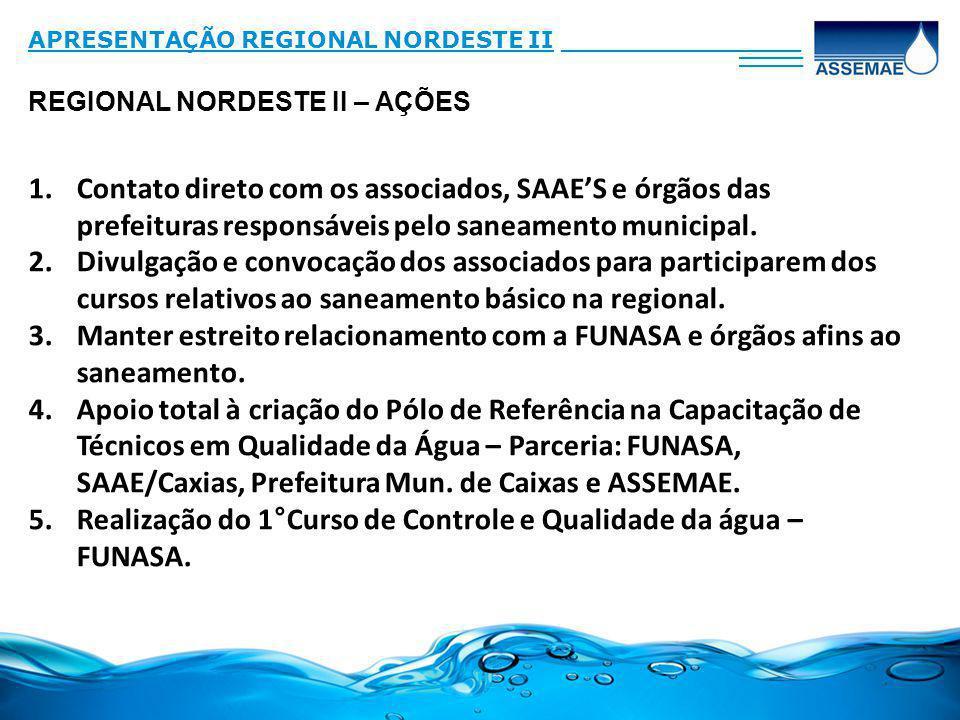 REGIONAL NORDESTE II – AÇÕES APRESENTAÇÃO REGIONAL NORDESTE II_______________ ____ 1.Contato direto com os associados, SAAES e órgãos das prefeituras responsáveis pelo saneamento municipal.
