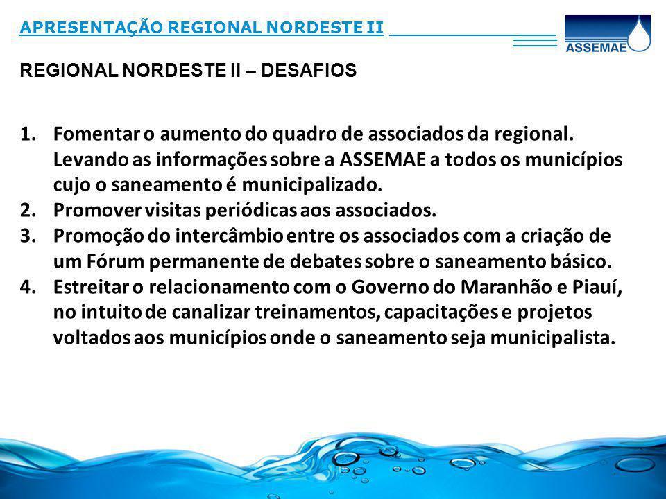 REGIONAL NORDESTE II – DESAFIOS APRESENTAÇÃO REGIONAL NORDESTE II_______________ ____ 1.Fomentar o aumento do quadro de associados da regional. Levand