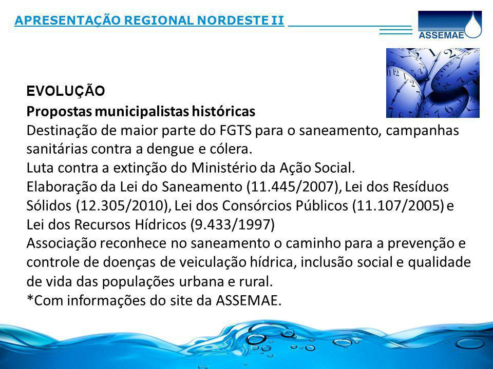 Propostas municipalistas históricas Destinação de maior parte do FGTS para o saneamento, campanhas sanitárias contra a dengue e cólera. Luta contra a