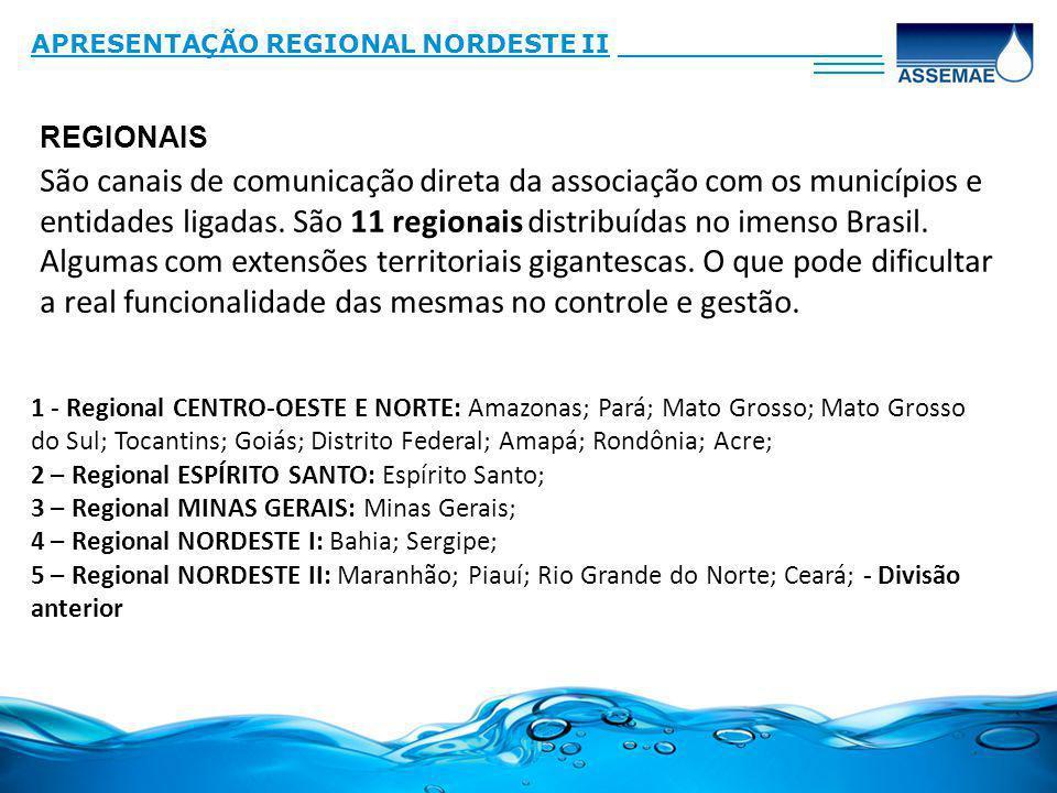 São canais de comunicação direta da associação com os municípios e entidades ligadas. São 11 regionais distribuídas no imenso Brasil. Algumas com exte