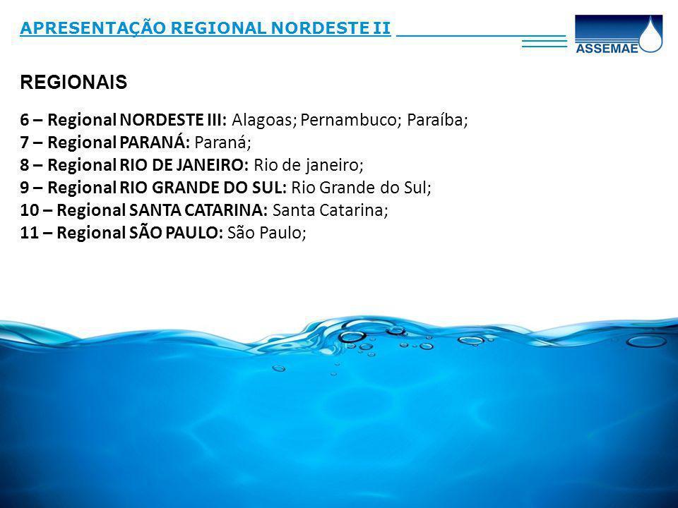REGIONAIS APRESENTAÇÃO REGIONAL NORDESTE II_______________ ____ 6 – Regional NORDESTE III: Alagoas; Pernambuco; Paraíba; 7 – Regional PARANÁ: Paraná; 8 – Regional RIO DE JANEIRO: Rio de janeiro; 9 – Regional RIO GRANDE DO SUL: Rio Grande do Sul; 10 – Regional SANTA CATARINA: Santa Catarina; 11 – Regional SÃO PAULO: São Paulo;