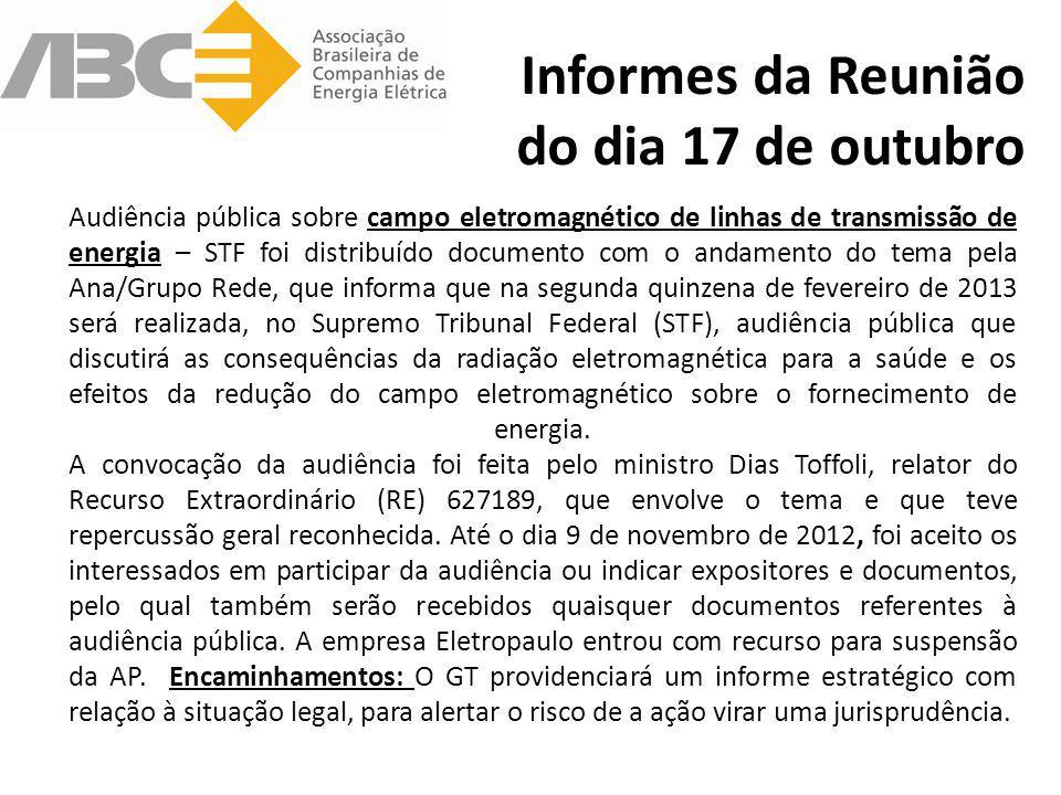 Informes da Reunião do dia 17 de outubro Audiência pública sobre campo eletromagnético de linhas de transmissão de energia – STF foi distribuído docum