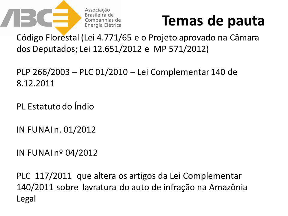 Temas de pauta Código Florestal (Lei 4.771/65 e o Projeto aprovado na Câmara dos Deputados; Lei 12.651/2012 e MP 571/2012) PLP 266/2003 – PLC 01/2010
