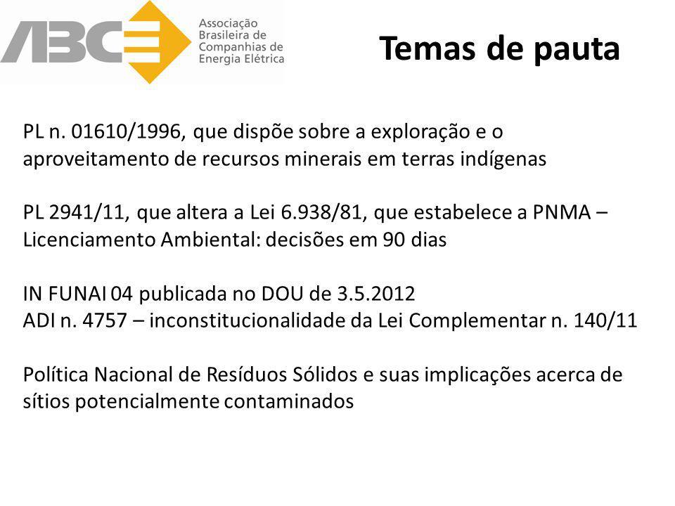 Temas de pauta PL n. 01610/1996, que dispõe sobre a exploração e o aproveitamento de recursos minerais em terras indígenas PL 2941/11, que altera a Le
