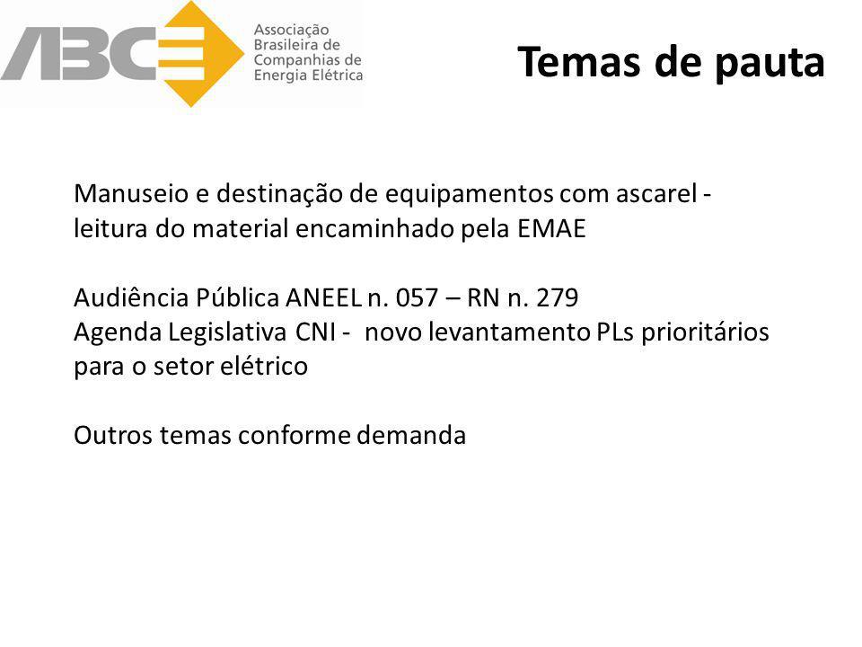 Temas de pauta Manuseio e destinação de equipamentos com ascarel - leitura do material encaminhado pela EMAE Audiência Pública ANEEL n. 057 – RN n. 27