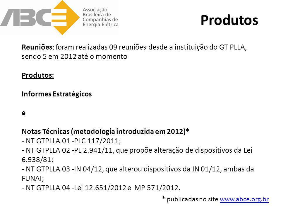 Reuniões: foram realizadas 09 reuniões desde a instituição do GT PLLA, sendo 5 em 2012 até o momento Produtos: Informes Estratégicos e Notas Técnicas