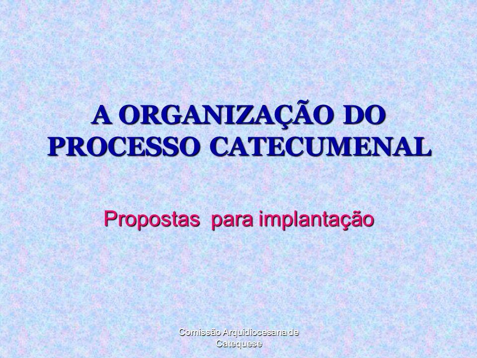 Comissão Arquidiocesana de Catequese A ORGANIZAÇÃO DO PROCESSO CATECUMENAL Propostas para implantação