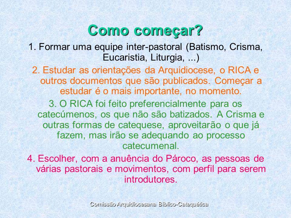 Como começar.1. Formar uma equipe inter-pastoral (Batismo, Crisma, Eucaristia, Liturgia,...) 2.