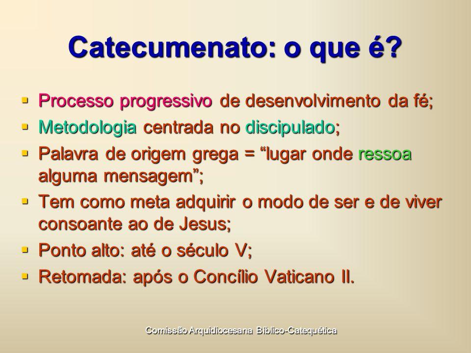 Comissão Arquidiocesana Bíblico-Catequética Catecumenato: o que é.