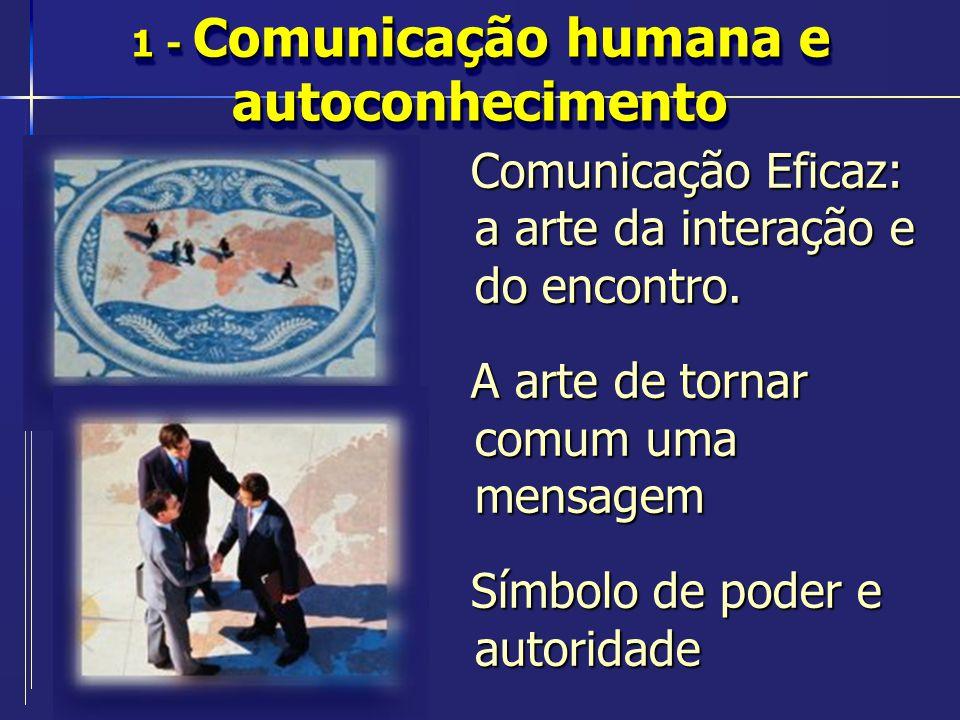 1 - Comunicação humana e autoconhecimento Comunicação Eficaz: a arte da interação e do encontro. A arte de tornar comum uma mensagem Símbolo de poder