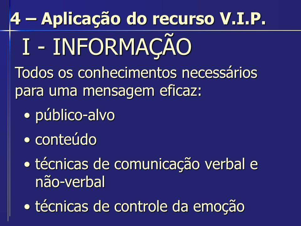 I - INFORMAÇÃO I - INFORMAÇÃO 4 – Aplicação do recurso V.I.P. Todos os conhecimentos necessários para uma mensagem eficaz: público-alvopúblico-alvo co