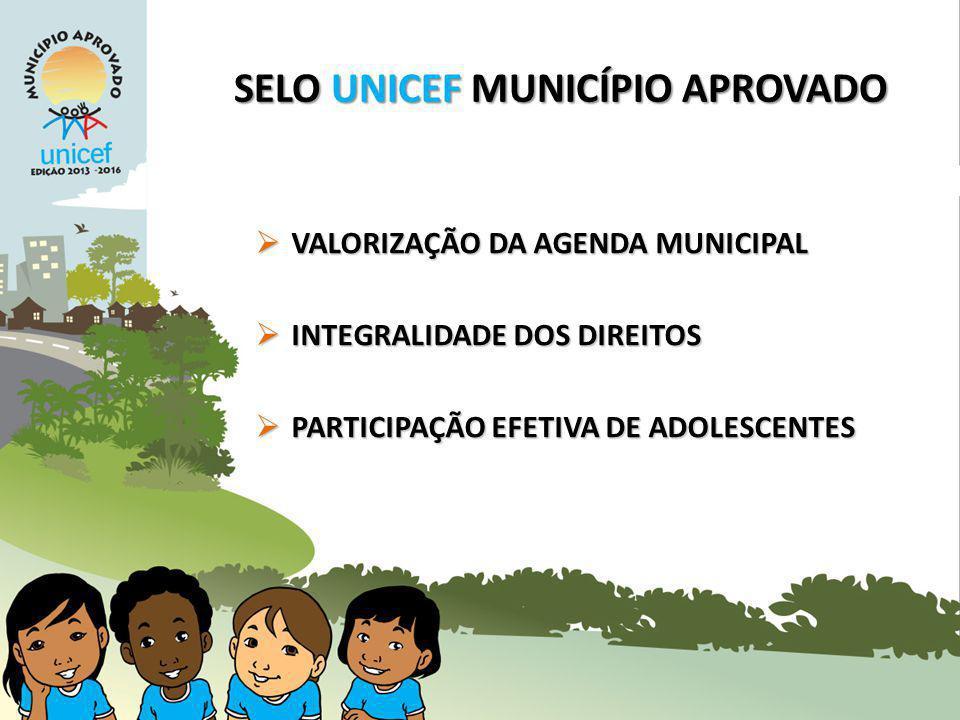 SELO UNICEF MUNICÍPIO APROVADO VALORIZAÇÃO DA AGENDA MUNICIPAL VALORIZAÇÃO DA AGENDA MUNICIPAL INTEGRALIDADE DOS DIREITOS INTEGRALIDADE DOS DIREITOS PARTICIPAÇÃO EFETIVA DE ADOLESCENTES PARTICIPAÇÃO EFETIVA DE ADOLESCENTES