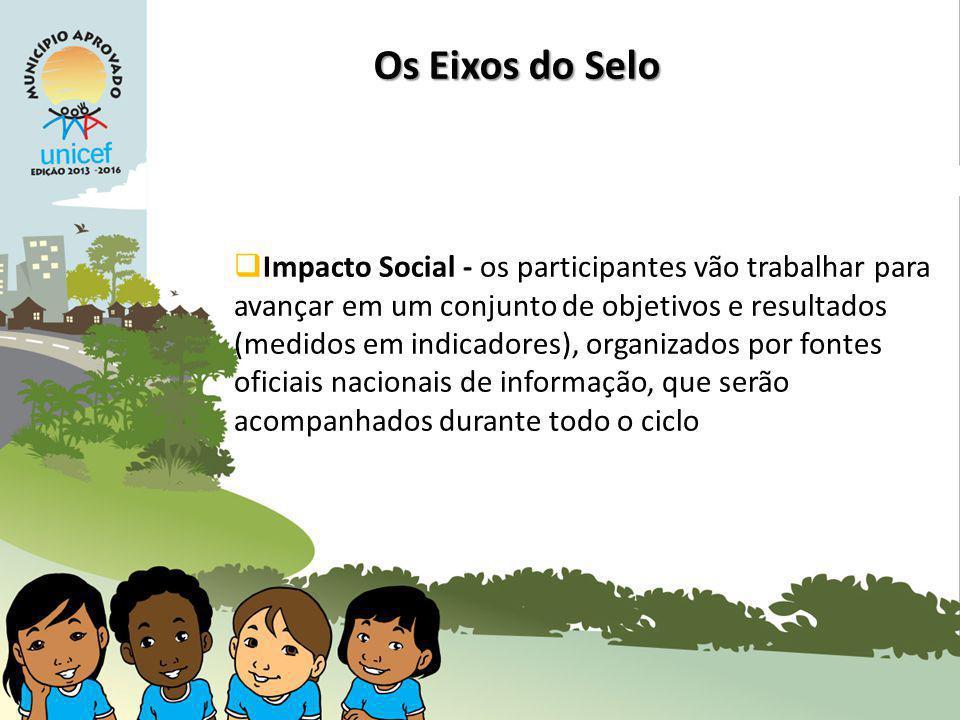 Impacto Social - os participantes vão trabalhar para avançar em um conjunto de objetivos e resultados (medidos em indicadores), organizados por fontes oficiais nacionais de informação, que serão acompanhados durante todo o ciclo Os Eixos do Selo