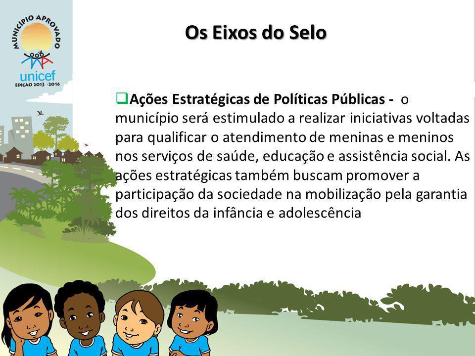 Ações Estratégicas de Políticas Públicas - o município será estimulado a realizar iniciativas voltadas para qualificar o atendimento de meninas e meninos nos serviços de saúde, educação e assistência social.