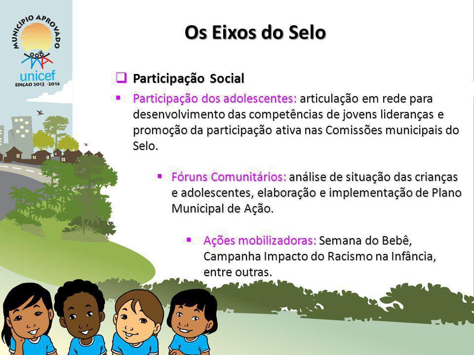 Participação Social Participação Social Participação dos adolescentes: articulação em rede para desenvolvimento das competências de jovens lideranças e promoção da participação ativa nas Comissões municipais do Selo.