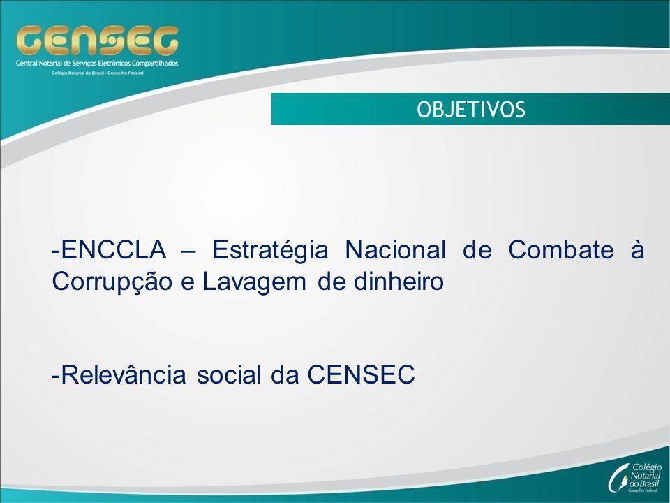 OBJETIVOS -ENCCLA – Estratégia Nacional de Combate à Corrupção e Lavagem de dinheiro -Relevância social da CENSEC