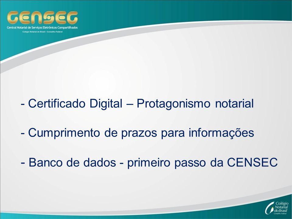 - Certificado Digital – Protagonismo notarial - Cumprimento de prazos para informações - Banco de dados - primeiro passo da CENSEC