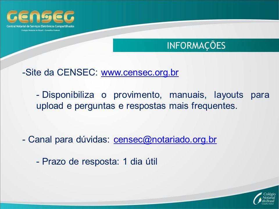 INFORMAÇÕES -Site da CENSEC: www.censec.org.brwww.censec.org.br - Disponibiliza o provimento, manuais, layouts para upload e perguntas e respostas mais frequentes.
