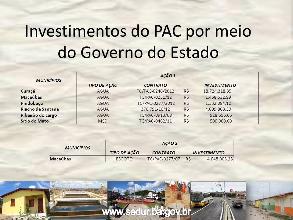 MUNICÍPIOS AÇÃO 1 TIPO DE AÇÃOCONTRATOINVESTIMENTO Curaçá ÁGUATC/PAC-0248/2012 R$ 18.724.318,85 Macaúbas ÁGUATC/PAC-0231/12 R$ 1.468.532,99 Pindobaçu