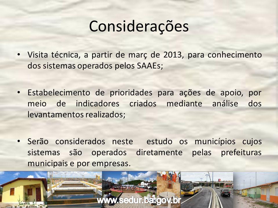 Considerações Visita técnica, a partir de març de 2013, para conhecimento dos sistemas operados pelos SAAEs; Estabelecimento de prioridades para ações