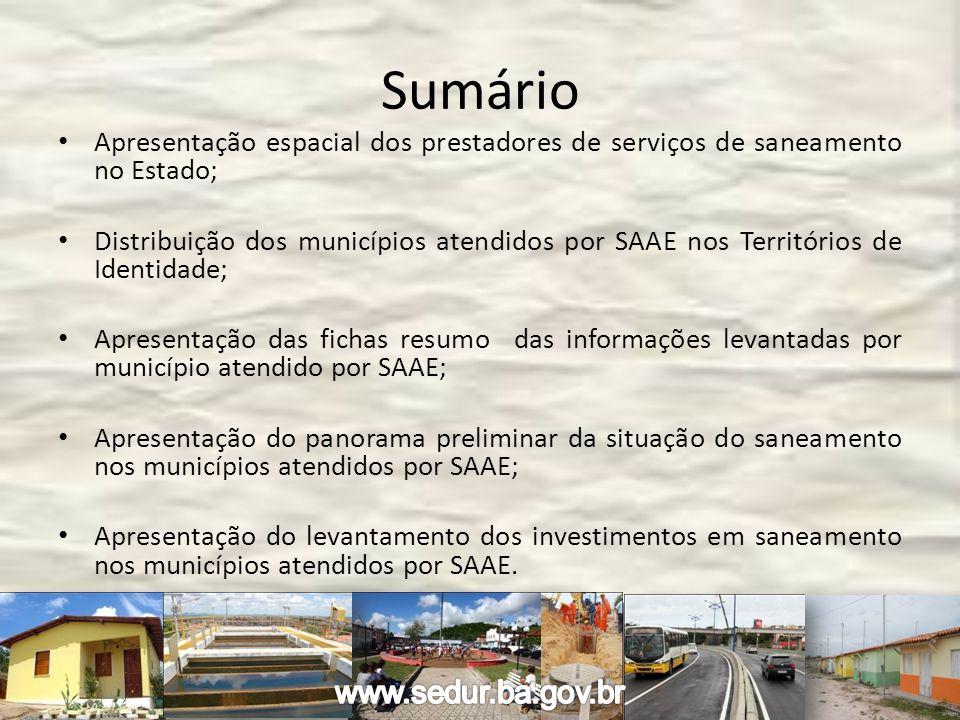 Sumário Apresentação espacial dos prestadores de serviços de saneamento no Estado; Distribuição dos municípios atendidos por SAAE nos Territórios de I