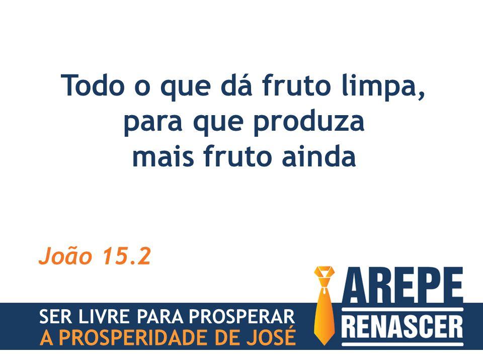 Todo o que dá fruto limpa, para que produza mais fruto ainda João 15.2 SER LIVRE PARA PROSPERAR A PROSPERIDADE DE JOSÉ