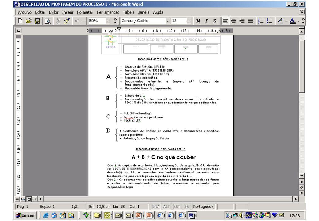 DOCUMENTOS PÓS-EMBARQUE Uma via da Petição (FASE I); Formulário ANVISA (FASE II, III E IIIA); Formulário ANVISA (FASE IV E V).