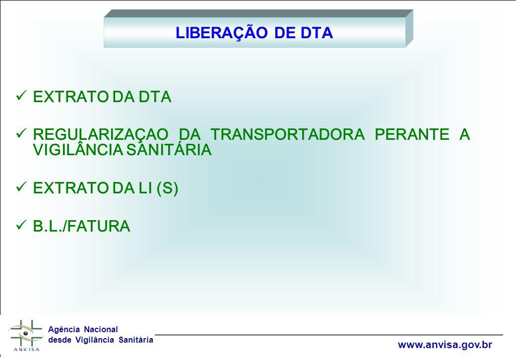 EXTRATO DA DTA REGULARIZAÇAO DA TRANSPORTADORA PERANTE A VIGILÂNCIA SANITÁRIA EXTRATO DA LI (S) B.L./FATURA LIBERAÇÃO DE DTA Agência Nacional desde Vigilância Sanitária www.anvisa.gov.br