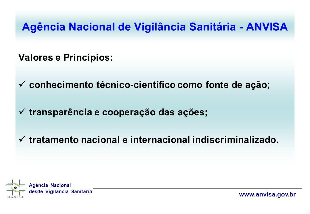 Valores e Princípios: conhecimento técnico-científico como fonte de ação; transparência e cooperação das ações; tratamento nacional e internacional indiscriminalizado.