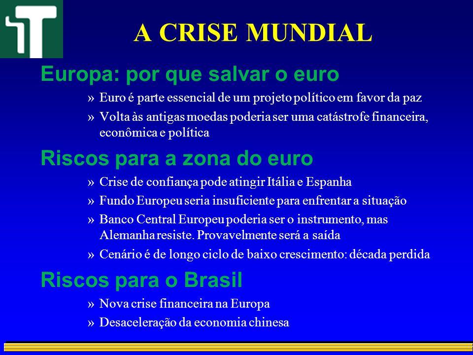 A CRISE MUNDIAL Europa: por que salvar o euro »Euro é parte essencial de um projeto político em favor da paz »Volta às antigas moedas poderia ser uma
