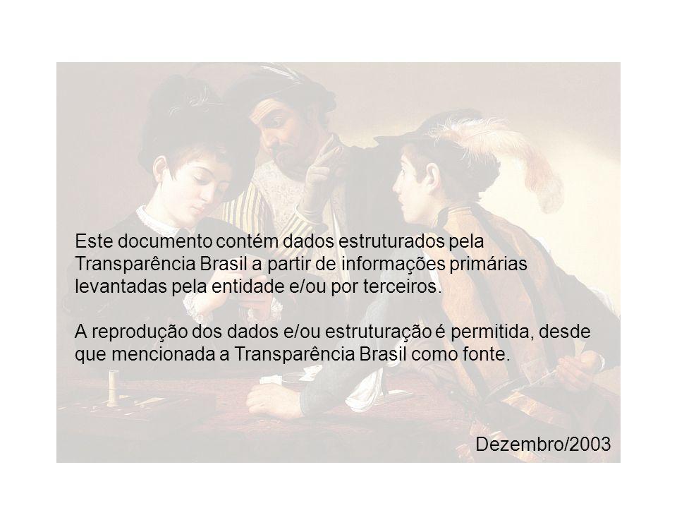 Este documento contém dados estruturados pela Transparência Brasil a partir de informações primárias levantadas pela entidade e/ou por terceiros. A re