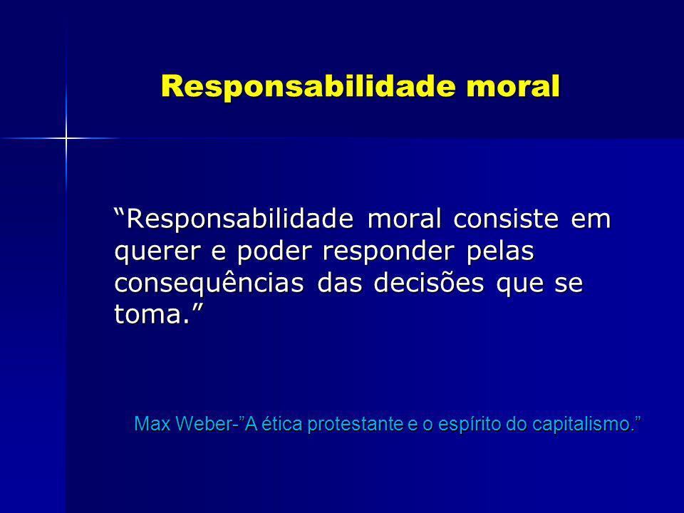 Responsabilidade moral Responsabilidade moral Responsabilidade moral consiste em querer e poder responder pelas consequências das decisões que se toma