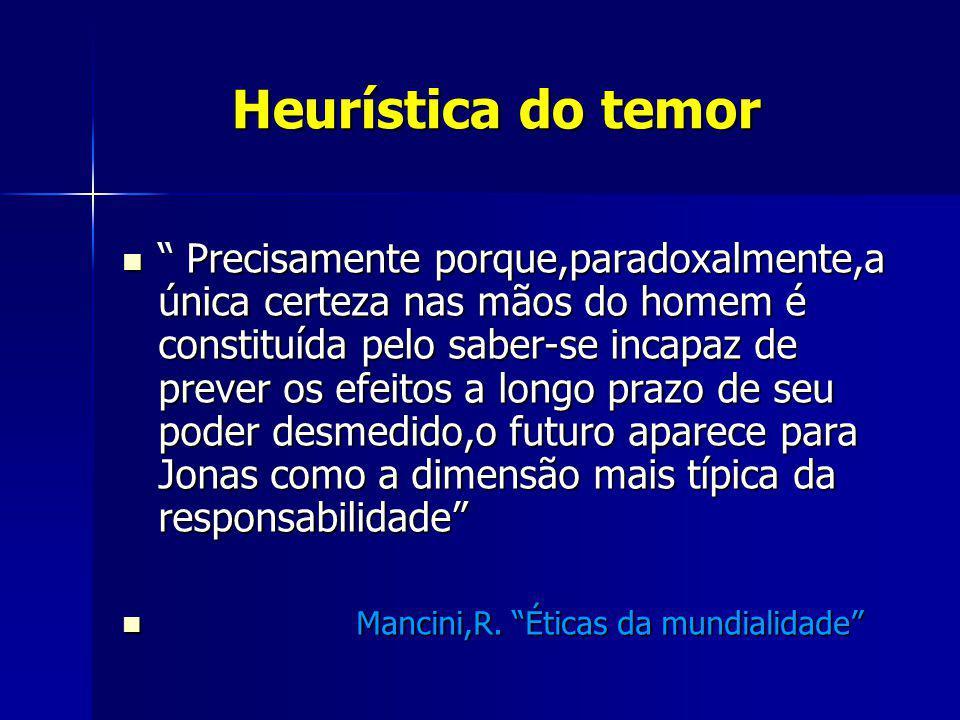 Heurística do temor Heurística do temor Precisamente porque,paradoxalmente,a única certeza nas mãos do homem é constituída pelo saber-se incapaz de pr