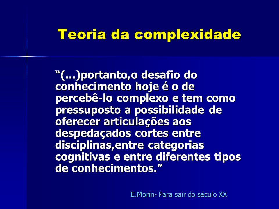 Teoria da complexidade Teoria da complexidade (...)portanto,o desafio do conhecimento hoje é o de percebê-lo complexo e tem como pressuposto a possibi