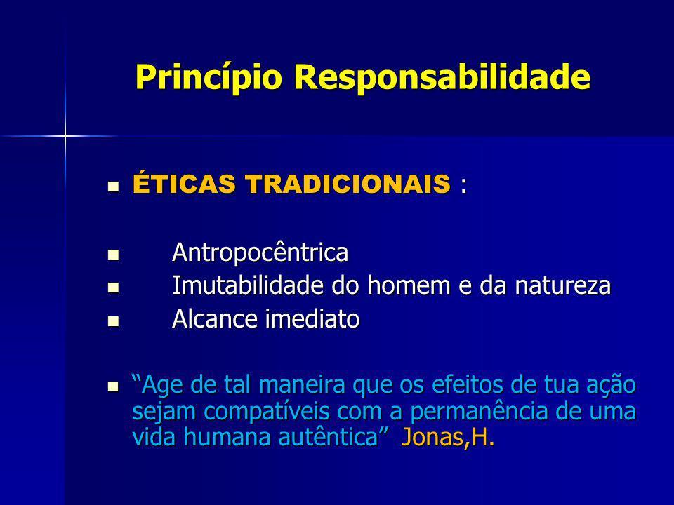 Princípio Responsabilidade Princípio Responsabilidade ÉTICAS TRADICIONAIS : ÉTICAS TRADICIONAIS : Antropocêntrica Antropocêntrica Imutabilidade do hom