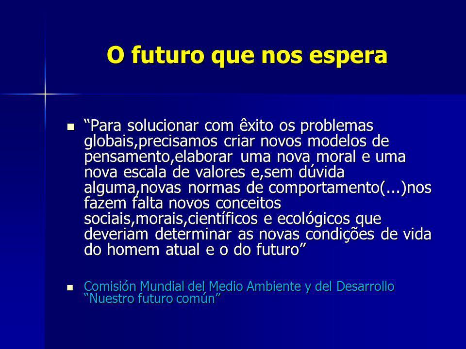 O futuro que nos espera O futuro que nos espera Para solucionar com êxito os problemas globais,precisamos criar novos modelos de pensamento,elaborar u